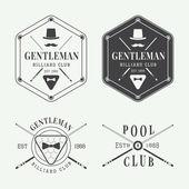 Set of vintage billiard labels emblems and logo