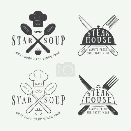 Set of vintage restaurant logo, badge and emblem with spoons, forks and knifes