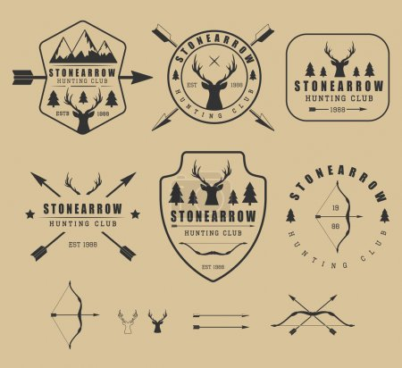 Set of vintage hunting logos, labels, badges and elements