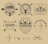 Set of vintage hunting logos labels badges and elements