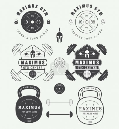 Set of gym logos, labels, badges and elements in vintage style