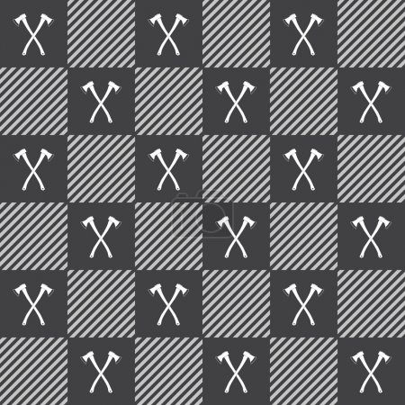 Lumberjack vector plaid pattern with axes