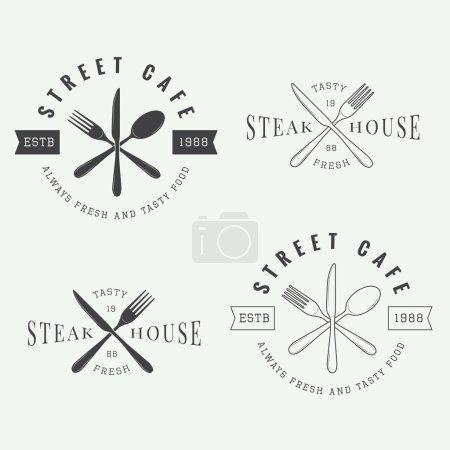 Set of vintage restaurant logo, badge and emblem