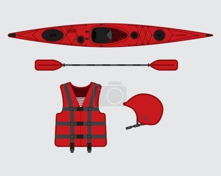 Red flat rafting set