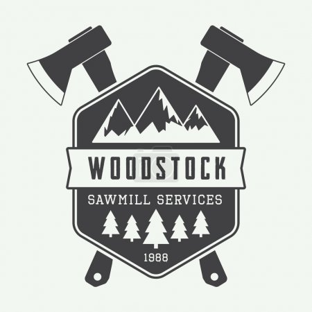 Illustration for Vintage sawmill vector logo with axes, rocks, trees - Royalty Free Image