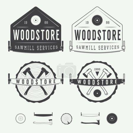 Illustration for Set of vintage sawmills vector labels, emblems, logo, badges and design elements - Royalty Free Image