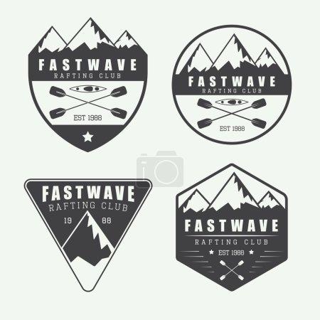 Set if vintage rafting logo, labels and badges