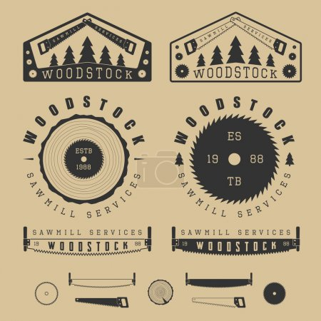 Set of vintage sawmills labels, emblems, logo, badges and design elements
