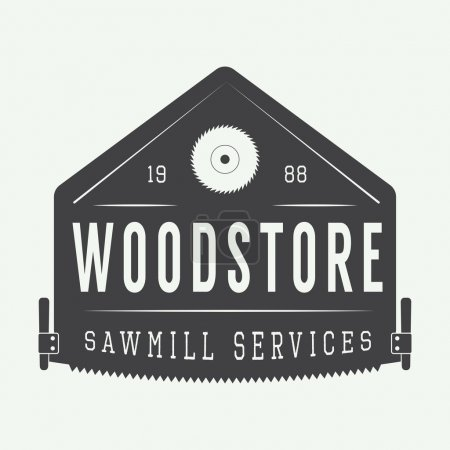 Illustration for Sawmill logo in vintage style. Vector illustration, eps 10 - Royalty Free Image