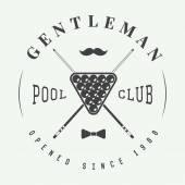 Vintage billiard label, emblem and logo