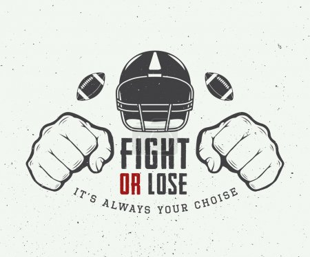 American football or rugby motivation with helm, fists and ball in vintage style.
