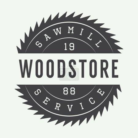 Vintage sawmill vector label, emblem, logo or badg...