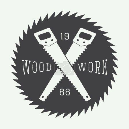 Illustration for Vintage sawmill vector label, emblem, logo or badges - Royalty Free Image