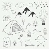 Adventures hand drawn doodle set in vintage style