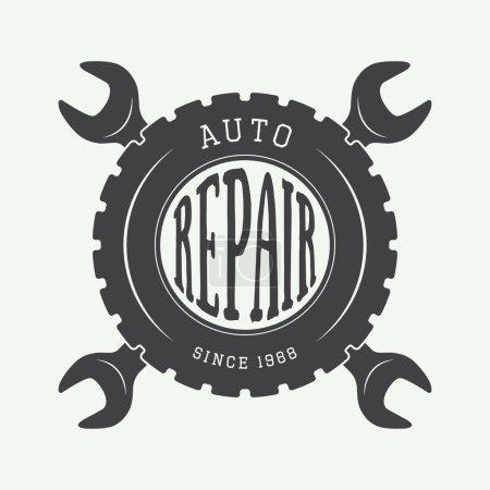 Illustration pour Étiquette mécanique vintage, emblème et logo. Illustration vectorielle - image libre de droit
