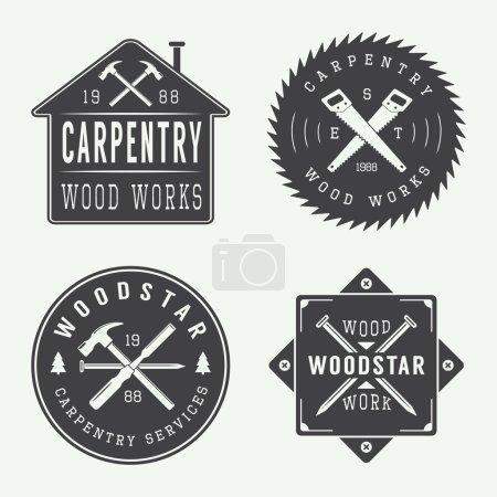 Illustration pour Ensemble d'étiquettes vectorielles, d'emblèmes et de logo de menuiserie vintage et de mécanique - image libre de droit