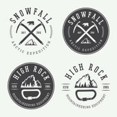 Vintage mountaineering logos badges emblems Vector illustration