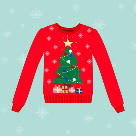 Christmas sweater on blue background with snowflakes