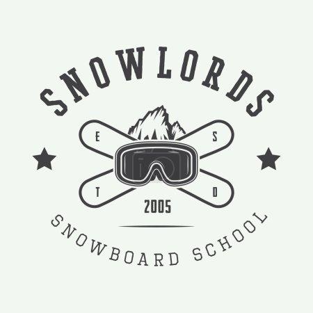 Vintage snowboarding logo, badge, emblem and design elements.
