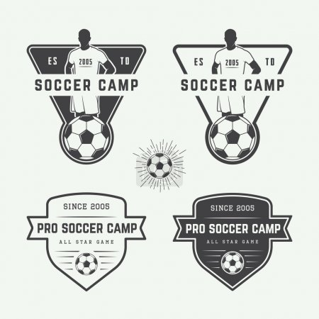 Set of vintage soccer or football logo, emblem, badge.