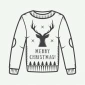 Vintage Christmas sweater with deer trees and stars