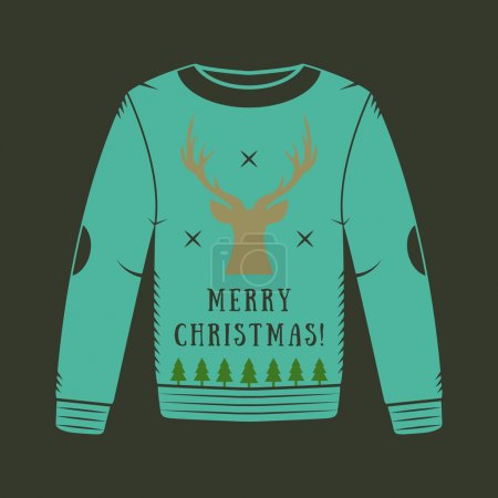 Vintage Christmas sweater with deer, trees and stars.