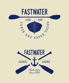 Set of vintage rafting logo labels and badges Vector illustration