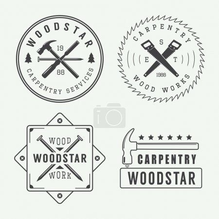 Vintage carpentry or mechanic logo, emblem, badge, label