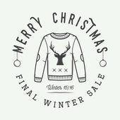 Vintage Merry Christmas or winter sales logo emblem badge