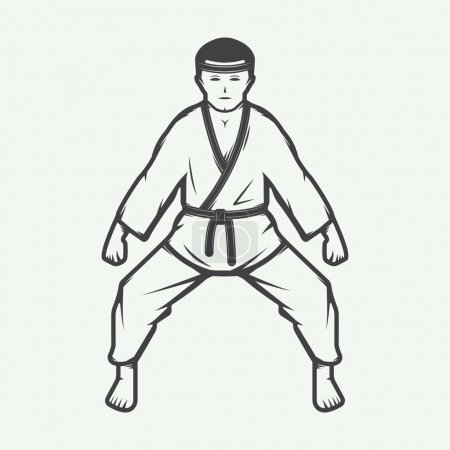 Vintage karate boy in retro style. Can be used for logos, emblem