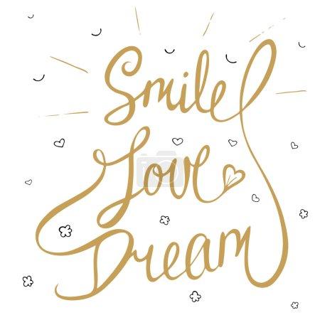 Illustration pour Carte avec l'élément de conception de typographie dessiné à la main pour des cartes de voeux, des affiches et l'impression. Sourire, amour, rêve avec de petits coeurs, nuages et sourire dans la couleur d'or, eps 10 - image libre de droit