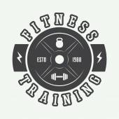 Gym logo in vintage style Vector illustration