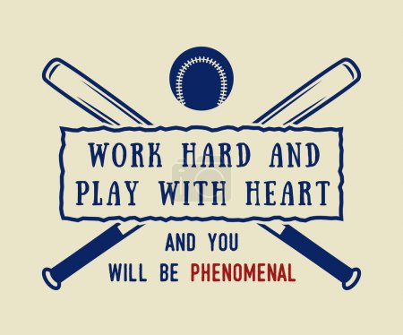 Illustration pour Logo de baseball vintage, emblème, badge avec slogan et motivation. Illustration vectorielle - image libre de droit