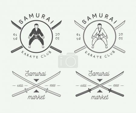 Set of vintage karate or martial arts logo, emblem, badge