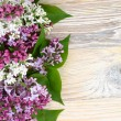 Flower wooden background with a lilac with a place...