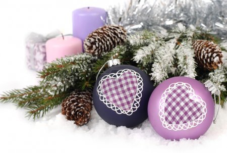 Violet Christmas balls with heart, cones and candl...