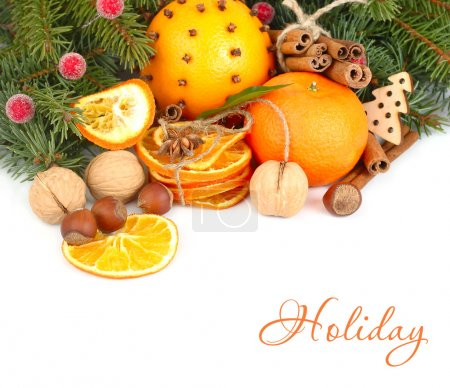 Dried oranges, cinnamon and nuts on branches of a Christmas tree on a white background. A Christmas background with a place for the text.
