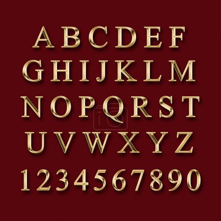 Photo for Gold alphabet with numbers on a red  background - Royalty Free Image