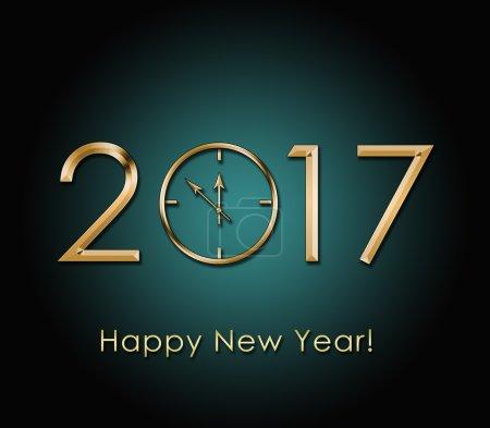 Photo pour 2017 Happy New Year fond avec horloge en or - image libre de droit