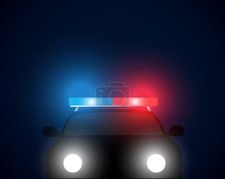Illustration pour Vue de face voiture de police arrière-plan vectoriel - image libre de droit