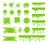 Slime vector set Blots splashes and smudges Green liquid