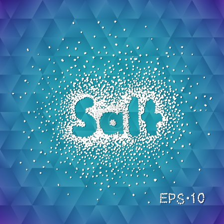 Sea salt sprinkled with the word salt