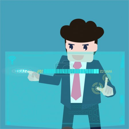 Business man are data analyzed at a computer screen.
