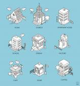 Set of Isometric Buildings Black and white vector illustration