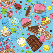 Lot of colorful sweets on blue background