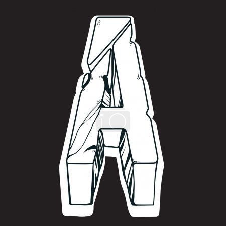 Letter A cracked stone.Vector