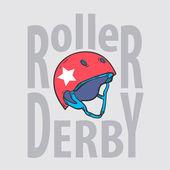 Roller derby helmu typografie, tričko grafika, vektory