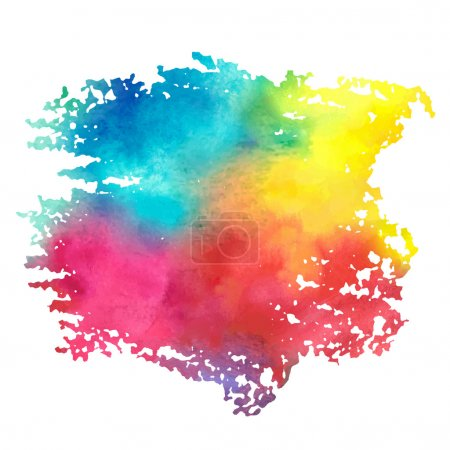 Illustration for Colorful watercolor stain with aquarelle paint blotch - Royalty Free Image