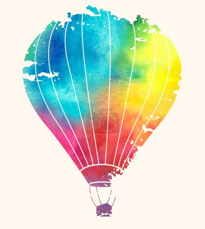 Illustration for Watercolor vintage hot air balloon.Celebration festive background with balloons.Perfect for invitations,posters and cards - Royalty Free Image
