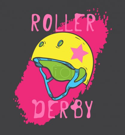 Roller skate et roller derby design graphique pour t-shirt